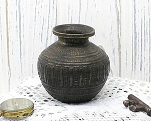 Antique Indian bronze lota kalash, small 18th century Hindu pooja, puja water vessel, Ganga water vessel, Ganges Chambu lota, water pot