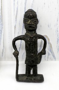 19th century bronze West African figurine - Benin bronze figure of man with stick - Nigerian tribal art