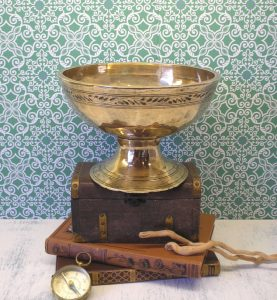 Vintage Tibetan singing bowl - pedestal brass bowl - footed Tibetan bowl - bonbon dish - fruit bowl - serving dish - oriental engraved bowl