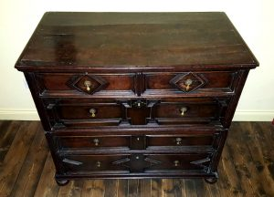 Antique oak chest of drawers, 17th century geometric panel 2-piece chest, Charles II