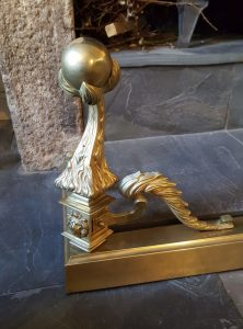 Victorian Gothic brass fender, ball and claw design