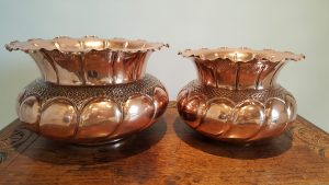 Benham & Froud copper jardinieres, antique pair planters, 19th Century indoor plant pots, Victorian copper jardinieres, small and large