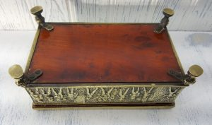 Vintage brass cigar box - wood lined brass box - Medieval scenes in relief