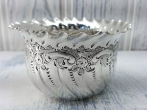 Antique silver plated sugar bowl by James Dixon & Sons, Baroque style repoussé sugar bowl