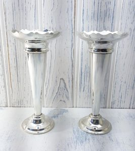 Art Deco Silver plated trumpet vases, pair.