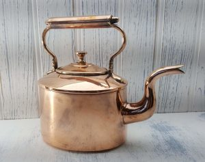 Victorian copper kettle by Benham and Froud for Harrods Ltd