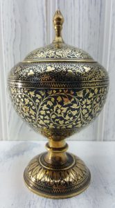 Vintage Persian candy dish brass & black enamel inlay, Qajar bonbon dish, niello inlay style lidded pot, Damascene urn