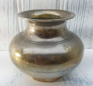 Antique Indian bronze lota kalash, incised 19th century Hindu pooja, puja water vessel, Ganga water vessel, Ganges Chambu lota, water pot