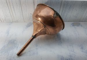 Victorian copper wine funnel, large 19th century wine decanting funnel