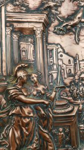 Antique copper & brass plaque, hanging relief copper panel, detailed classical Greek scene