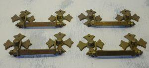 Vintage brass drawer handles, set of four large Gothic drawer pulls, coptic cross backplates.