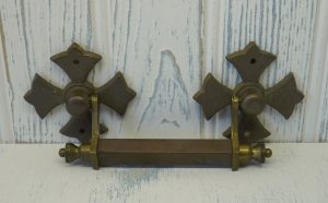 Vintage brass drawer handles, set of four large Gothic drawer pulls, coptic cross backplates.
