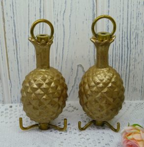 ANTIQUE PAIR OF PINEAPPLE CHANDELIER HOOKS
