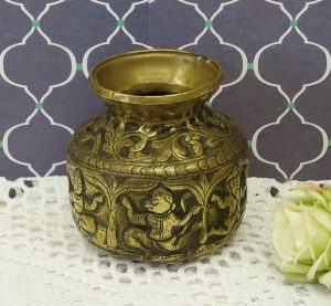 Antique Indian brass lota kalash, 19th century Hindu pooja, puja water vessel, Ganga water vessel, Ganges Chambu lota, repoussé brass vessel