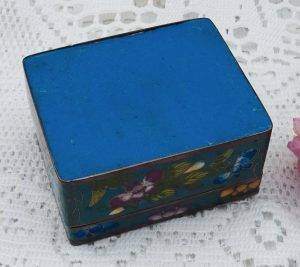 Antique Japanese cloisonné box, enamelled brass trinket box, made in Japan, flowers and butterfly. Jewellery box, decorative enamel box