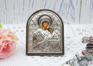 silver plated Greek Orthodox icon, Madonna and Christ, The Virgin and Baby Jesus, Christianity, Laminato Ag, Mary and Jesus icon