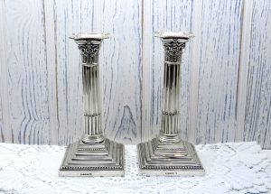 Victorian silver plated candlesticks by R F Mosley - pair silver plate Corinthian candlestick holders, late 19th Century candle holders