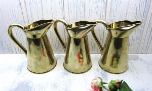 Victorian brass jugs x 3 by John Marston, 2 pint ewers. 19th century brass pitchers, vases, wine ewers, antique beer pitchers, watering can