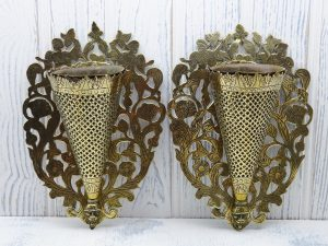 Victorian brass spill vases, matching pair, wall mounted Medieval style spill vases, stylised arabesque design, antique brass spill holders