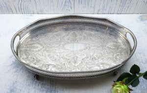 Antique silver plated oval tray with pierced gallery & side handles. Engraved silver plate drinks tray, claw and ball feet, blank cartouche