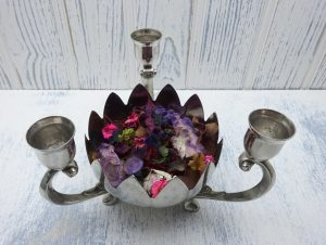 Vintage silver plated triple candelabra and lily bowl centrepiece. Candlestick holder and flower shaped fruit or bonbon dish. Potpourri bowl