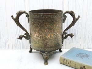Antique Indian copper & brass or bronze vessel, 19th century Indian planter / bottle holder, engraved Indian pot with lion head feet