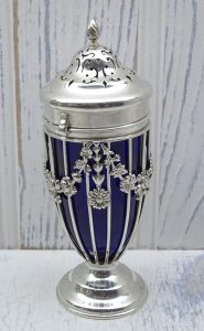Victorian solid silver sugar caster, with cobalt blue glass liner, Haseler Brothers, London 1898, sterling silver Neoclassical sugar sifter