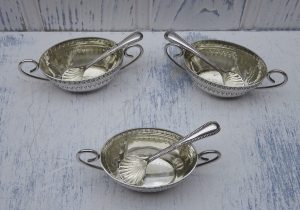 Victorian silver plated salt cellars with spoons, James Dixon & Sons