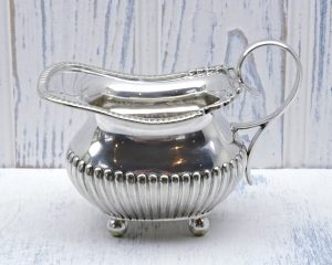 Victorian silver plated sauce boat or creamer by William Hutton & Sons Ltd. Antique gravy jug, silver plate milk jug, dated 1864 to 1893