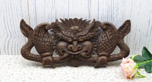 Vintage Balinese wood carving of guardian spirit, carved wood wall plaque, Indonesian Barong, stylised dragon carving, from Bali. Ethnic art