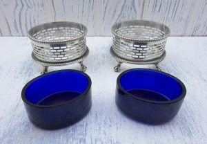 Antique pair silver plated salt cellars with cobalt glass liners, Georgian style salts, late Victorian or Edwardian salt pots