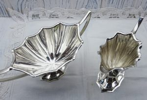Art Deco silver plated creamer and sugar bowl, James Howard & Co, antique sugar basin and milk jug, 1930's silver plate dining table decor