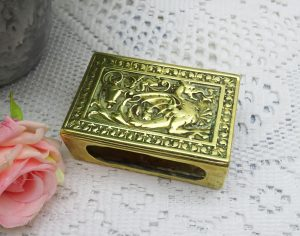 Vintage brass matchbox holder featuring a dragon or wyvern / Wessex Wyvern. Tobacciana, fireside accessory, collectable, vesta box holder