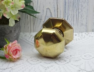 Vintage brass door pull, large octagonal brass centre door knob, central door pull.