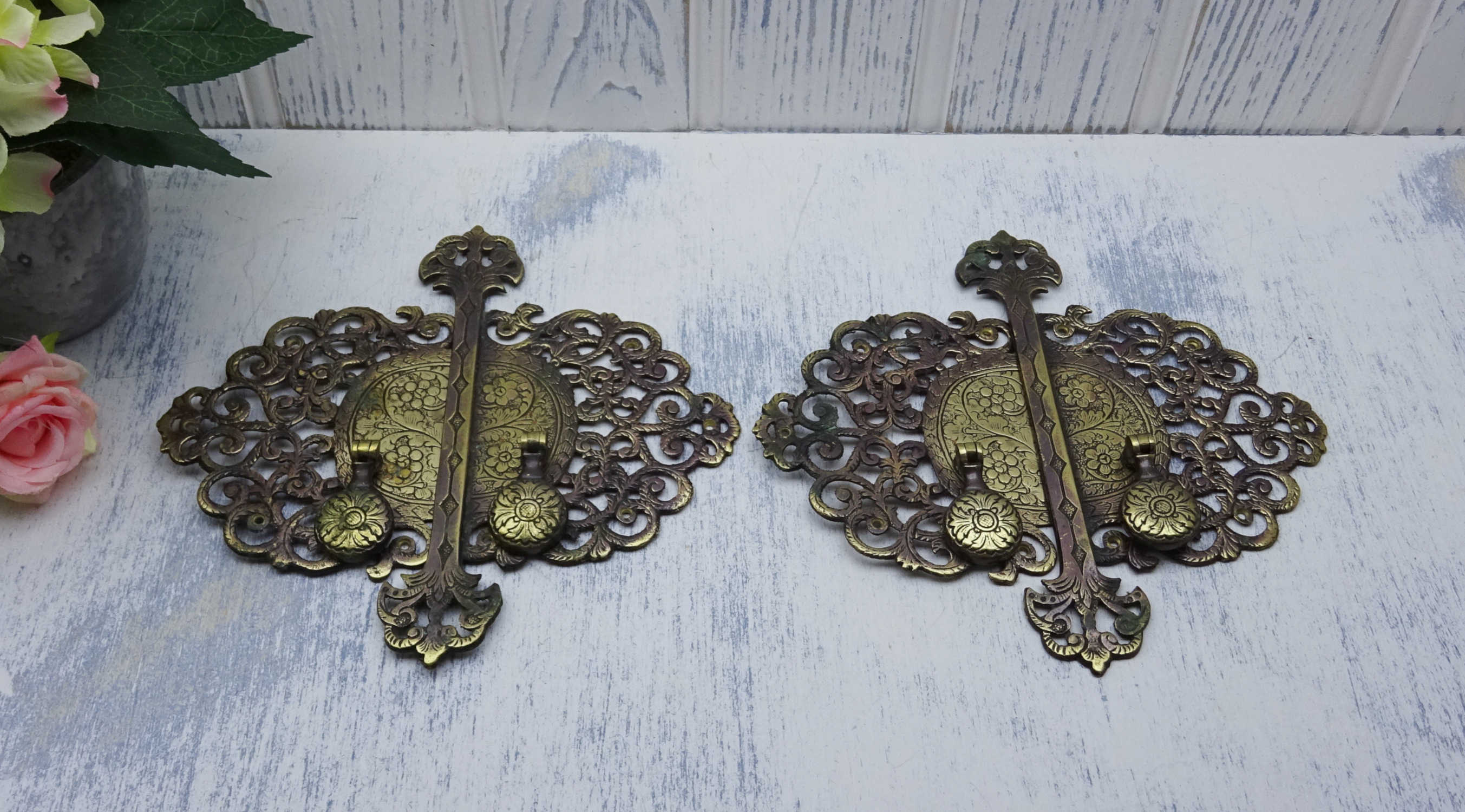 Early 20th Century Ornate Brass Cabinet Handles Showpiece