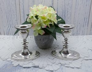 Antique pair silver plated candlesticks, small Adam style candlestick holders. Early 20th century oval based Georgian style candle holder