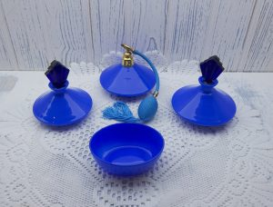 French Art Deco blue opaline glass dressing table set ~ atomiser, two perfume bottles with cobalt stoppers and oval vanity pot
