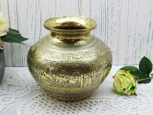 Antique Indian brass lota kalash, engraved 19th century Hindu pooja, puja water vessel, Ganga water vessel, Ganges Chambu lota, water pot