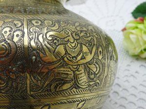 Antique Indian brass lota kalash, engraved 19th century Hindu pooja, puja water vessel, Ganga water vessel, Ganges Chambu lota, water pot