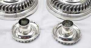"Pair of Georgian silver plated candlesticks - 11"" Old Sheffield Plate candlesticks - late 18th century or early 19th century - circa 1800"