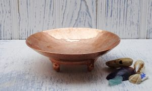 Arts & Crafts copper dish, antique beaten copper bowl with four feet, bonbon dish, serving dish, nut bowl, trinket dish