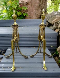 Pair antique William Tonks and Sons brass fire dogs circa 1906. Edwardian brass WT & S andirons. Neoclassical Adam style with urns and swags