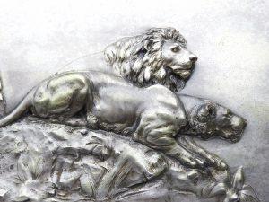Antique silver plated WMF relief plaque of lion & lioness. Rare WURTTEMBERGISCHE METALLWARENFABRIK, Fritz Diller? Kunstanstalt Geislingen