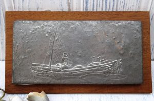Vintage pewter relief ~ Alderney Fisherman ~ by R.E. Dickerson, hand made in the Channel Islands. Naive art, Guernsey, Jersey, fishing boat