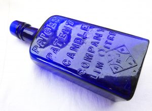Cobalt Price's Patent Candle Company cobalt bottle wedge shape, very rare bottle