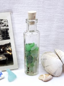 Victorian clear glass perfume bottle with green seaglass from Cornwall, Cornish sea glass in small antique bottle, natural cork stopper