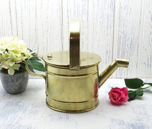 Antique brass watering can, 'slow pour' indoor watering can. Edwardian or early 20th century 3 pint watering can, gardenalia, gardening