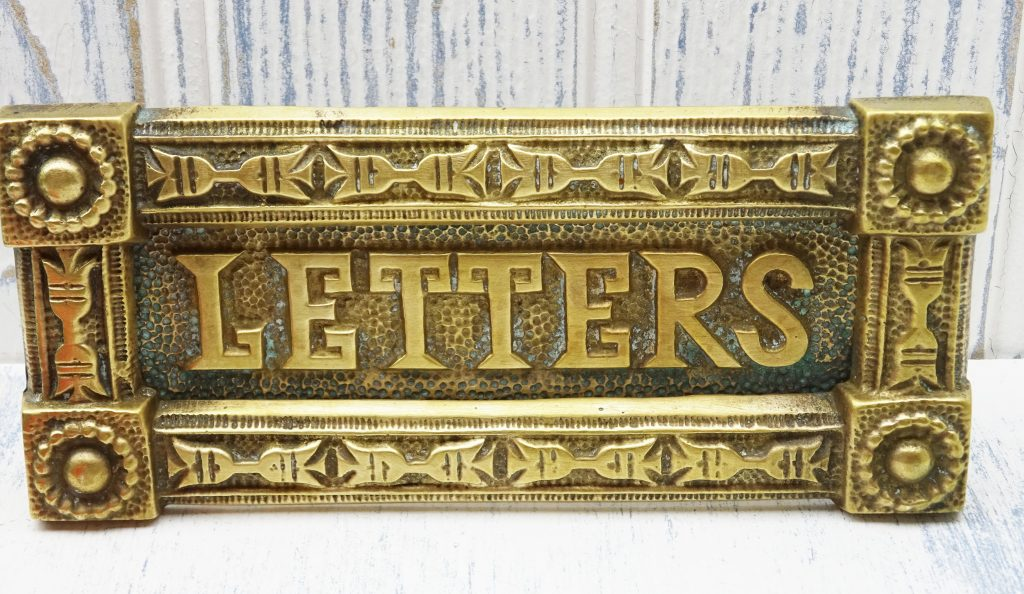 Victorian brass letter flap, ornate brass letter box, antique mail slot, letters slot. 1800's period door furniture, antique door hardware,