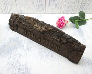 Vintage carved MARAZION Balinese name plaque from Indonesia, rosewood carving by Sanggar Barong, Cornish souvenir, Cornwall, wooden sign