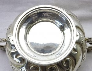 Solid silver bowl with dragon handles by Susannah Brasted 1888 London. Sterling silver repoussé pedestal dish, Victorian footed bowl
